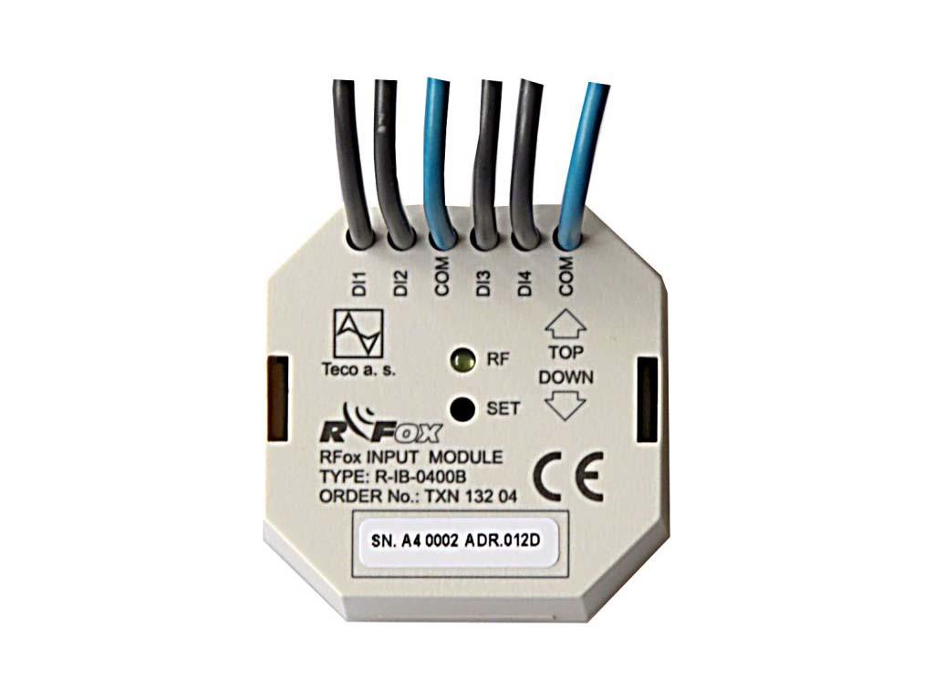 R-IB-0400B; RFox, 4x DI, beznapěťový kontakt, BOX, Baterie